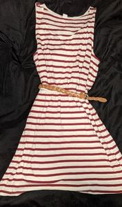 H&M Basic red and white striped dress